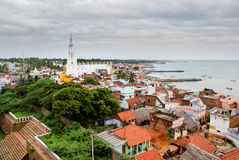 Church in Kanyakumari, India. A view of Kanyakumari featuring a church and the ocean Stock Photo