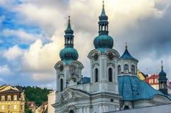 Church in Karlovy Vary Karlsbad. Detail of baroque church of St. Mary Magdalene in Karlovy Vary Karlsbad - Czech Republic Stock Photo
