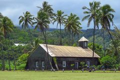 Church at Keanae, road to Hana, Maui, Hawaii stock photography