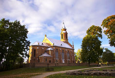 Church in Kernave surrounded by oaks Royalty Free Stock Photography