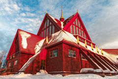Church of Kiruna in Sweden. During arctic winter Stock Photo