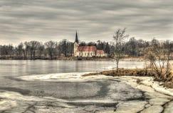Church Koknese. Latvia, winter hdr Royalty Free Stock Photos