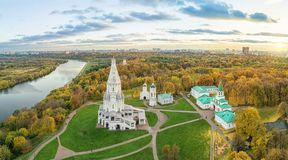 Church in Kolomenskoe park in autumn, Moscow, Russia. Church of the Ascension in Kolomenskoe park in autumn season aerial view, Moscow, Russia royalty free stock image