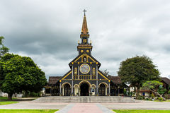 Church of Kon Tum. Historical wooden church in Kon Tum, Vietnam. Built during the French colonisation Stock Photo
