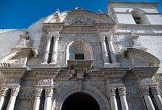 Church La Compania , Arequipa, Peru. Frontage church La Compania in the Arequipa, Peru Stock Image