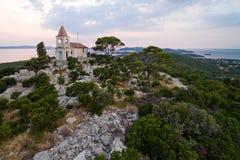 Church Lady of Loreto, on Pasman island, at dusk, Croatia Royalty Free Stock Photos