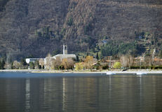 Church in a lake royalty free stock image