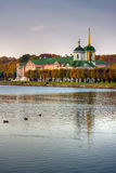 Church on the lake. On the russian countryside royalty free stock photography