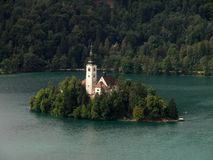 Church on lake Bled. Church on island in center of lake Bled Stock Image