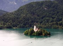 Church on lake Bled. Church on island on lake Bled Stock Photo