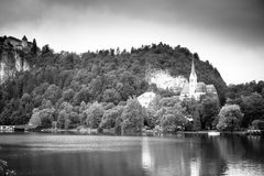 Church on lake. Bled, Slovenia Royalty Free Stock Images