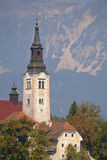 The church of Lake Bled in Slovenia Royalty Free Stock Images
