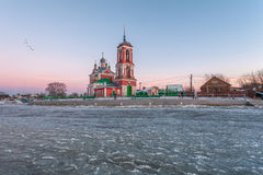Church at the lake. Church of Forty martyrs against the background of lake Pleshcheevo ice on a winter decline in Pereslavl-Zalessky Royalty Free Stock Photo