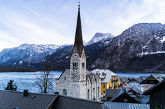 Church at Lake Hallstatt Austria Stock Photography