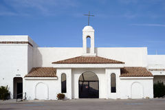 Church Lake Havasu City. Lake Havasu City, United States - December 23, 2015: A church in the Spanish style, with whitewashed walls and simple construction on stock image