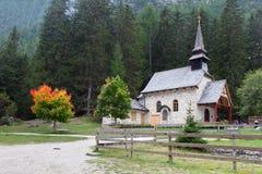 Church on lake Lago di Braies in Dolomiti Mountains - Italy Euro Stock Photo