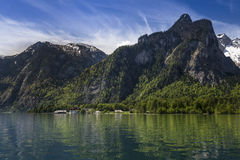 Church on a lake (landscape). Picture of St.Bartholoma on the Koenigssee Stock Image