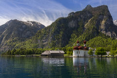 Church on a lake 3. Picture of St.Bartholoma on the Koenigssee Royalty Free Stock Photos