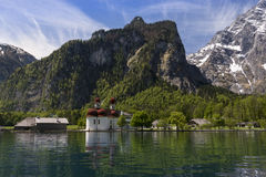 Church on a lake 2. Picture of St.Bartholoma on the Koenigssee Stock Photos