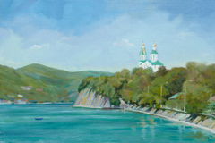 Church on the lakeside. (oil painting Stock Image