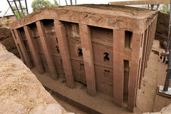 Church in Lalibela. One of eleven monolithic rock-cut churches in Lalibela Stock Image