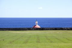 A church and the landscape at the beach in San Juan, Puerto Rico.  royalty free stock images