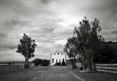 Church in a landscape. A church in a field in the Wairarapa, New Zealand stock photography