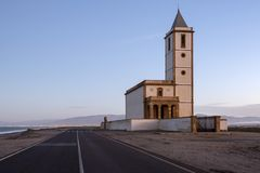 Church of Las Salinas in Cabo de Gata. Church of the Salt mines of Cabo de Gata, construction right next to some old salinas that even today are still stock photography