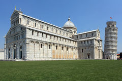 Church and Leaning Tower of Pisa. Photo of the Leaning Tower of Pisa in Pisa, Italy. No tourists are visible Stock Photo