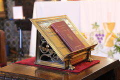 Church Lectern. Lectern holding a religious book in a small parish church stock images