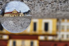 Church in the lensball stock images