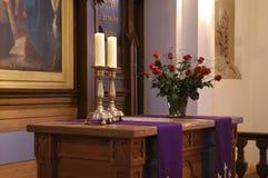 Church  on lent. Lutheran church altar on lent Stock Photo