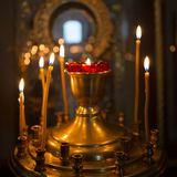 Church. Lighted candles in the church, prayer royalty free stock photos