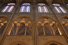 Church lighting and stain glass windows Royalty Free Stock Image
