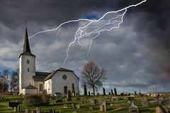 Church and Lightning Stock Photography