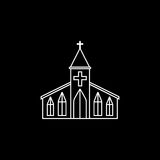Church line icon, religion building elements,. Religious sign, a linear pattern on a black background, eps 10 stock illustration
