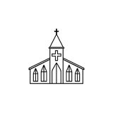 Church line icon, religion building elements,. Religious sign, a linear pattern on a white background, eps 10 royalty free illustration