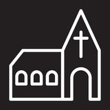 Church line icon, white outline sign, vector illustration. Royalty Free Stock Image