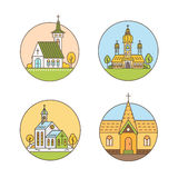 Church line set. Vector set of circle logo design templates - christian church concepts. Icons and symbols in linear style. City religions colorful  buildings Stock Images