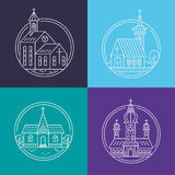 Church line set. Vector set of circle logo design templates - christian church concepts. Icons and symbols in linear style. City religions buildings Stock Images