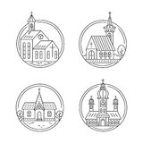 Church line set. Vector set of circle logo design templates - christian church concepts isolated on white. Icons and symbols in linear style. City religions Royalty Free Stock Photos
