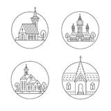 Church line set. Vector set of circle logo design templates - christian church concepts isolated on white. Icons and symbols in linear style. City religions Royalty Free Stock Images