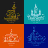 Church line set. Vector set of logo design templates - christian church concepts. Icons and symbols in linear style. City religions buildings Royalty Free Stock Photo