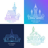 Church line set. Vector set of logo design templates - christian church concepts. Icons and symbols in linear style. City religions buildings Royalty Free Stock Images