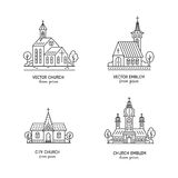 Church line set. Vector set of logo design templates - christian church concepts isolated on white. Icons and symbols in linear style. City religions buildings Stock Image