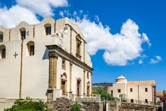 Church in Lipari old town center Stock Photos