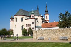 Church in the Litomysl, eastern Bohemia, Czech republic - UNESCO. Temple of Holly Cross Finding and Piarist Cloister´s gardens in the Litomysl, eastern Bohemia Stock Images