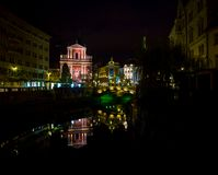 Church in Ljubljana at night Royalty Free Stock Photography