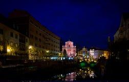 Church in Ljubljana at night Stock Photos