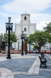 Church located at the end of the City Square Stock Photos